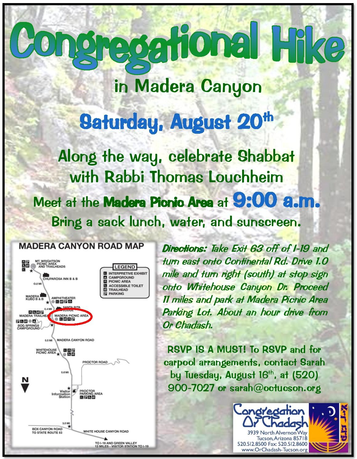 Shabbat Hike August Madera Canyon