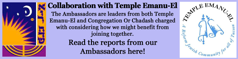 Text: Collaboration with Temple Emanu-El. The Ambassadors are leaders from both Temple Emanu-El and Congregation Or Chadash charged with considering how we might benefit from joining together. Read the reports from our Ambassadors here!