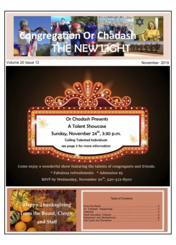 The front cover of the November 2019 New Light