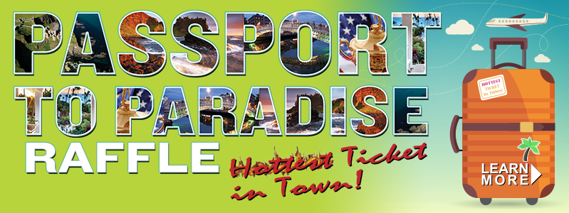 Banner Text: Passport to Paradise Raffle - Hottest Ticket in Town!